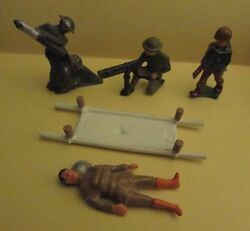 Vintage Barclay Manoil Holt Military Soldier Figure Lot Of 19 Vg W/ Stretcher