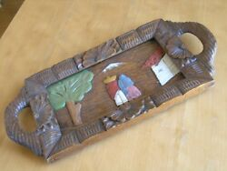 Exceptional Vintage Mexico Mexican Hand Carved Painted Folk Art Pictorial Tray