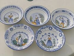 5 Vintage Pictorial Hand Painted Pottery Bowls Wall Hangers French Quimper