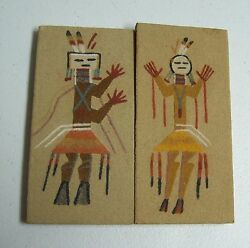 Vintage Pair Sand Painted Southwest Warrior Small Paintings