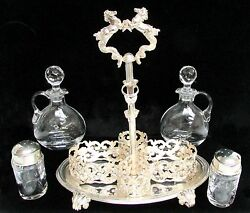 Fabulous Sterling Silver And Crystal Oil And Vinegar Reticulated Curette Set
