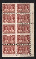 Canada 213 Vf/nh Plate 3 Lr Block Of 10