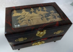 Big Chinese Lacquer Wood Carved Cork Tree King Palace Pagoda Cabinet Chest Box