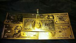 Collectors Lot Mint Gold U.s Unc Banknotes 5-100 Dollar +silver Coinand Flake
