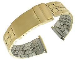 16-22mm Tandc Stainless Solid Link Gold Tone Deployment Buckle Watchband