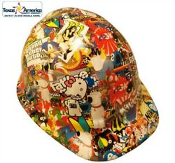 Cartoon Sticker Bomb 2 Hydro Dipped Cap Style Hard Hat With Ratchet Suspension