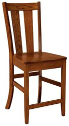 Amish Newberry 24 Stationary Counter Height Bar Stool Solid Wood Set 3