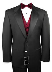 Sizes 35-64 Long. 6-piece Tuxedo Package With Flat Front Pants And Burgundy Vest
