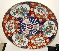 12 Hand Painted Gold Imari Blue And Red Flower Platter Plate Signed