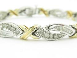 14k Two Tone Gold And Diamonds Hugs And Kiss Design Tennis Bracelet 3.50ct G-si1