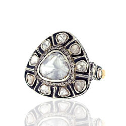 3.29ct Natural Polki Diamond Vintage Ring 14k Gold Sterling Silver Women Jewelry