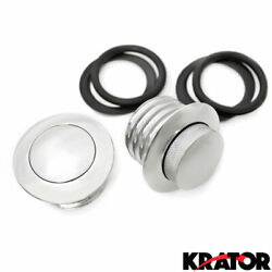 New Set Chrome Screw In Plush Pop-up Gas Caps For Harley Davidson Dual Gas Caps