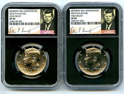 2014 P And D Kennedy 50th Anniversary Ngc Sp69 Clad High Relief Half Dollar Set
