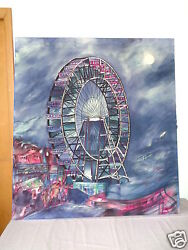 Vintage Signed Mystery Artist Ferris Wheel Fabric Painting Stretched On Wood