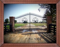 Custom Built Steel - Iron Driveway Entry Gate 12 Foot Wd Dual Swing Residential