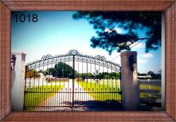Custom Wrought Iron Style Driveway Entry Gate 12 Ft Wide Dual Swing Residential