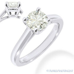 Forever One D-e-f Round Cut Moissanite 14k White Gold Solitaire Engagement Ring