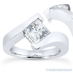 Forever One D-e-f Square Moissanite Solitaire Engagement Ring In 14k White Gold