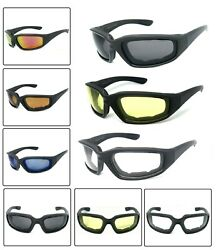 1 or 3 Pair(s) Motorcycle Padded Foam Wind Resistant Riding Glasses Sunglasses $16.99