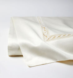 Italy Sferra Millesimo Cotton Sateen Flat Sheet With Lace Inset