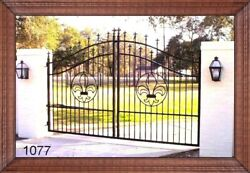 Custom Built Steel - Iron Driveway Entry Gate 12 Foot Wd Single Swng Residential