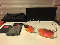 New Ray Ban Light Ray Wayfarer RB4225 646 6Q matte transparent Red Fire Mirror $99.95
