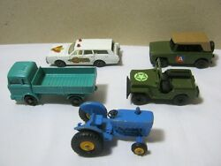 Matchbox Vtg. Diecast Toy Car And Lesney Tractor Lot Of 5  T