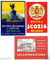 Luggage Labels Group Of 11 Italian Hotels Rome Florence Milan And Others