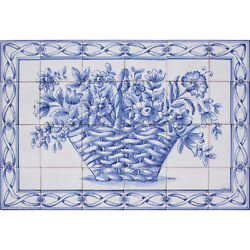 Portuguese Traditional Blue Azulejo Tiles Panel TRADITIONAL BLUE FLOWERS BASKET