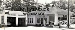 1940's Shell Gas Station Photo Gas Pumps Used Car Lot B.f. Goodrich Tire Sign