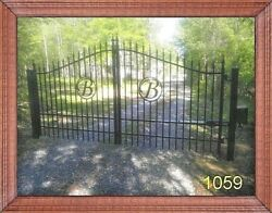 Residential Driveway Entry Gate 11 Ft Wide SS Steel  Iron Yard Security Fence