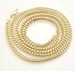 4mm Mens All Shiny Tight Miami Cuban Chain Necklace Real Solid 10k Yellow Gold
