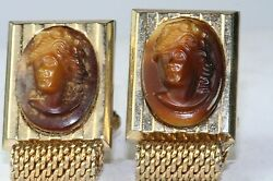 Vintage Hickok 1970and039s Brown Art Glass Cameo Mesh Wrap Cufflinks