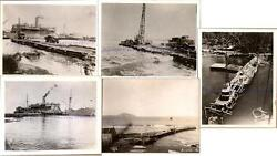 Wwii Us Navy Seabees Building Pacific Island Theatre Pier Dock Wharf Ship Photos