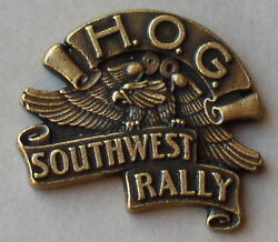 Harley Owners Group Hog 1990 Southwest Rally Vest Badge Hat Pin Pins