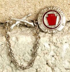 Wwii Enameled Sterling 28th Inf Div 2 Pc Chained Sweetheart Pins Ww2 Home Front