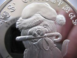 1-OZ. SILVERTOWNE TIS CHRISTMAS PUPPY WITH CANDY CANE COIN  SILVER .999 + GOLD