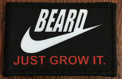 Beard Just Grow It Morale Patch Tactical Military Army Badge Hook Flag USA
