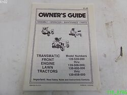 Transmatic Front Engine Lawn Tractors Owners Guide 139-530 139-568 - Used