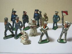 Vintage Lead And Metal Soldier Toy Figures Lot Of 11 T