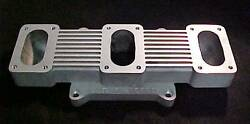 Sb Chevy Tri-power Rochester 2g Carb Adapter 3 X 2 To 4v 4 Bt Top Holley Bottom