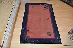 Art Deco 8'x5' Antique Chinese Handmade Hand-knotted Garden Design Pictorial