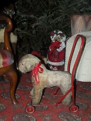 ANTIQUE MOHAIR STRAW STUFFED TERRIER DOG ON WHEELS PUSH TOY ENGLAND