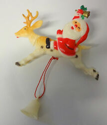 Celluloid Motion Articulate Santa Reindeer Holly Christmas Tree Bell Pin Brooch