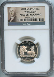 2004 S State Wisconsin Silver Quarter Ngc Pf69 Ucam Proof 25 Cent Coin C28