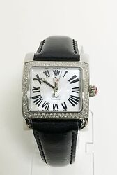 New Michele 112 Diamonds Silverblack Leather Band Roman Numerals Mop Dial Watch