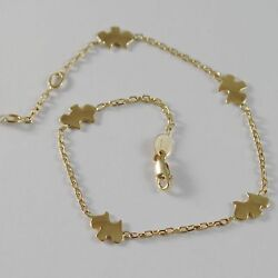 18k YELLOW GOLD BRACELET SMOOTH BRIGHT WITH DOG PUPPY TERRIER MADE IN ITALY
