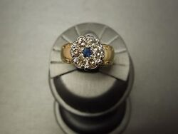 Vintage Estate C1970 14k Gold 0.75tcw Sapphire And Champagne Diamond Cluster Ring