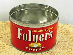 Vintage Folgers Coffee Can Folger`s Mountain Grown Key Wind 52 No Lid No Key
