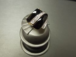 Vintage Estate Art Deco Style 14k Gold Onyx And 0.50 Tcw Diamond Bypass Ring